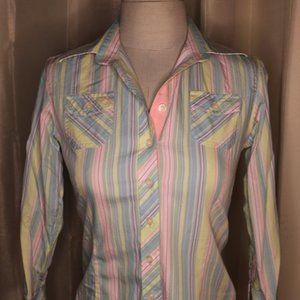 Lilly Pulitzer Colorful Striped Button Down Shirt